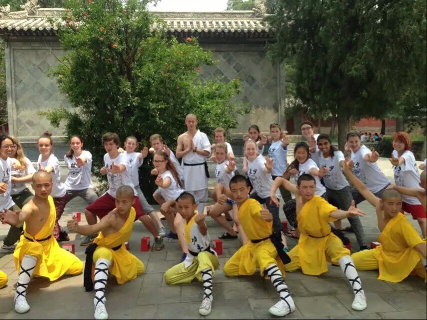 Shaolin kung fu monks with learners