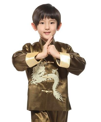 Kung fu Boys Kids Traditional Chinese Dragon Kung Fu Outfit Tang Suit Costume